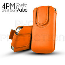 MAGNET BUTTON LEATHER PULL TAB CASE COVER POUCH FITS VARIOUS SAMSUNG MOBILES