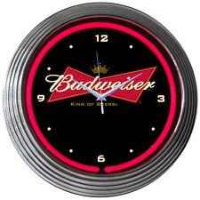 Neon Clock Sign Bud Bowtie BUDWEISER Anheuser-Busch Licensed Light Bar Beer Art
