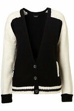 New TOPSHOP knitted baseball chunky cardigan UK 8 in Multi