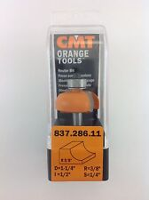 """CMT 837.286.11 Cove Router Bit, 1/4"""" Shank, 3/8"""" Radius,  Made in Italy"""