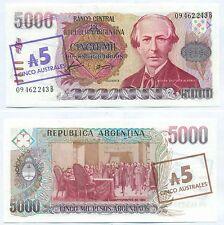 ARGENTINA NOTE 5 AUSTRALES ON 5000 PESOS 1985 ALONSO-CONCEPCION B 2703 P 321 UNC