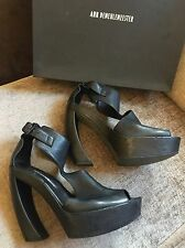 Ann Demeulemeester Black Leather Sandals Platform Peep Toe UK 5 EU 38 Vitello