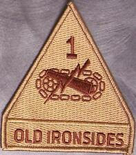 Embroidered Military Patch U S Army 1st Armored Division NEW Old Ironsides tan