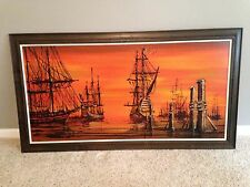 "Vanguard Studios 1960's Mid Century Pirate Ship Painting Drip Art 53""x29"""