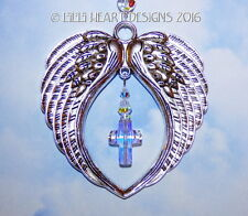 Angel Wings Suncatcher with Swarovski Aurora Cross Car Charm Lilli Heart Designs