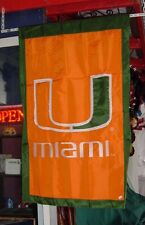 """UNIVERSITY OF MIAMI HURRICANES APPLIQUE TWO SIDED VERTICAL BANNER 28""""X44""""  NEW"""
