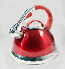 3LTR RED STAINLESS STEEL WHISTLING KETTLE GAS & ELECTRIC HOBS FAST BOIL