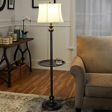 Metal Floor Lamp With Tray Home Sofa Chair Lighting Black Side Table White Shade