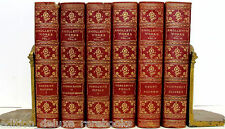 SMOLLETT'S WORKS Beautiful Leather Bound ANTIQUE OLD BOOKS Decorator Set RED VTG