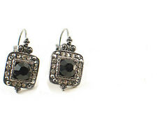 42A Antique Vintage Look Black Swarovski Crystal Element Leverback Earrings
