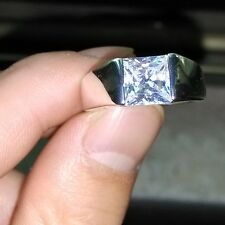 Deluxe Men 925 Silver Princess Cut White Topaz Wedding Bnad Ring Sz 12/Y Gift