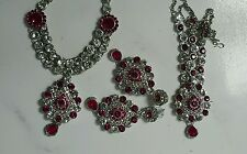 bollywood Indian fashion necklace earrings mathapatti in silver n pink  Set