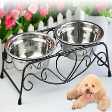 Popular Stainless Steel Double Feeder Dog Cat Food Water Bowl Iron Stand New