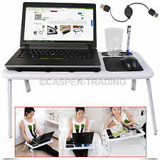 New White Portable Folding Laptop Desk Adjustable Table Stand Tray For Bed