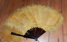 "antique ostrich fan gold yellow edwardian deco flapper large 25"" faux tortoise"