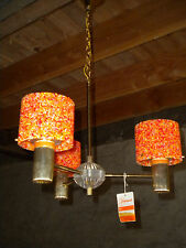 Sedimel 1974 3 Arm ceiling lamp with orange sparkling shades wild retro 70s