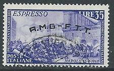 1948 TRIESTE A USATO ESPRESSO RISORGIMENTO 35 LIRE VARIETà G SENZA PUNTO - L8