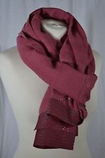 ART APPROACH (ANTHROPOLOGIE) raspberry pink wool scarf with silver pattern BNWT