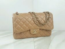 AUTHENTIC Chanel Jumbo Double Flap Beige Lambskin Leather Shoulder Bag Handbag