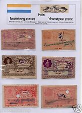 INDIA FEUDATORY STATES BHARATPUR STATE 6V SET IN MOUNTS RARE COLLECTION