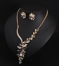 Fashion Popular Crystal Flower Necklace+Earrings Fashion Women Accessories