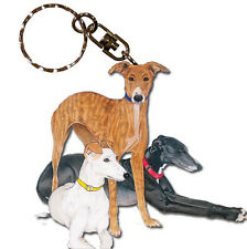 Greyhound Wooden Dog Breed Keychain Key Ring