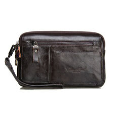 Men Genuine Leather Pouch Clutch Hand Bag Cell Phone Case Business Wrist Wallet