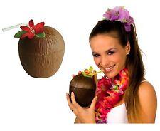 Taza de Coco con flor de paja hawaiano Decoración Fiesta temática gallina Beach Pool UK