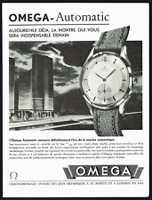 1940s Old Vintage 1947 Omega Automatic Watch Mid Century Modern Art Print AD .