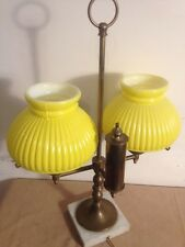 Vintage Brass Table Lamp Yellow Glass Shades 6 Inch 19 Inch Tall