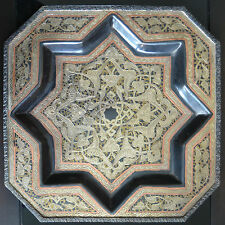 BREATHTAKING ANTIQUE VTG PERSIAN ISLAMIC ARABIC DAMASCUS BRASS TRAY Early 1900s