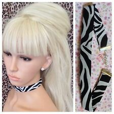 NEW ZEBRA ANIMAL PRINT COTTON FABRIC CHOKER NECKLACE 2cm WIDE METAL CHAIN RETRO