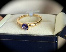 TANZANITE & DIAMOND RING 9K Y GOLD SIZE P 'CERTIFIED AA' EXQUISITE COLOUR - BNWT