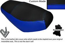 BLACK & ROYAL BLUE CUSTOM FITS SKYJET SONIC 50 DUAL REAL LEATHER SEAT COVER