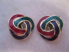 Vintage Swirl Sparkle Red Green Blue Clip On Earrings