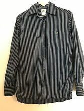 Men's Lacoste long sleeve button front shirt.size 38(S) blue/dark blue stripes