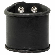 Wide Men's Bracelet Cuff Style Distressed Black Leather 75mm Wide by Urban Male