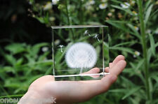 2.36'' Dandelion Paperweight / Dandelion Crystal Cube 3D Dandelion With Gift Box