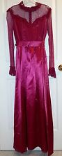 Vintage 80's Red Burgundy Women's Long Sleeve Satin Lace Long Gown Dress
