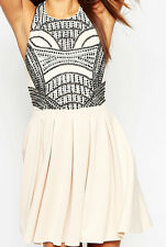 Party Scuba Skater With Embellished Formal Dress in Nude UK8 EU36 US4