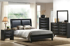 MODERN BEDROOM SET 4 Pcs QUEEN BEDROOM FURNITURE BLACK LEATHER HEADBOARD F9153