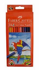 1 x Brand New Faber Castell 24 Tri Colour Color Pencils Best Grip Triangular