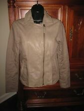 LUCKY BRAND Beige/Tan Leather Mixed-Media Jacket 7W30440 MSRP $189 - Nice !!!