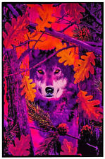 AUTUMN WOLF - BLACKLIGHT POSTER - 24X36 FLOCKED TREES NATURE WOLVES 6031
