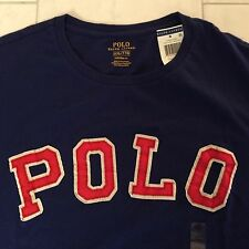 NWT POLO RALPH LAUREN MENS SS BLUE CREWNECK PATCH TEE T SHIRT 2XL XXL MSRP $55
