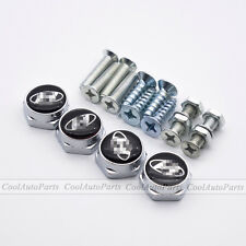 4PCS Silver Car License Plate Frame Decor Screws Bolts Caps Covers For Hyundai