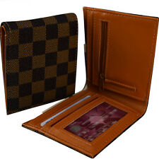 Mens Damier Wallet - Brown -Faux Leather ID & Card Cash Slots- New Present Gift
