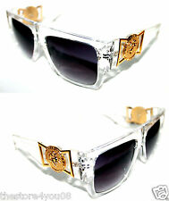 Medusa Metal Gold Logo 424 Clear Frame Flat Top Sunglasses Vintage Style Flattop