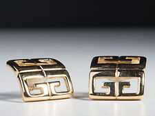 Gold Toned Vintage Givenchy Signed Square Earrings - Pierced