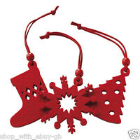 12 Red Felt Christmas Tree Hangers Decorations Ornament Xmas Stocking Snowflake